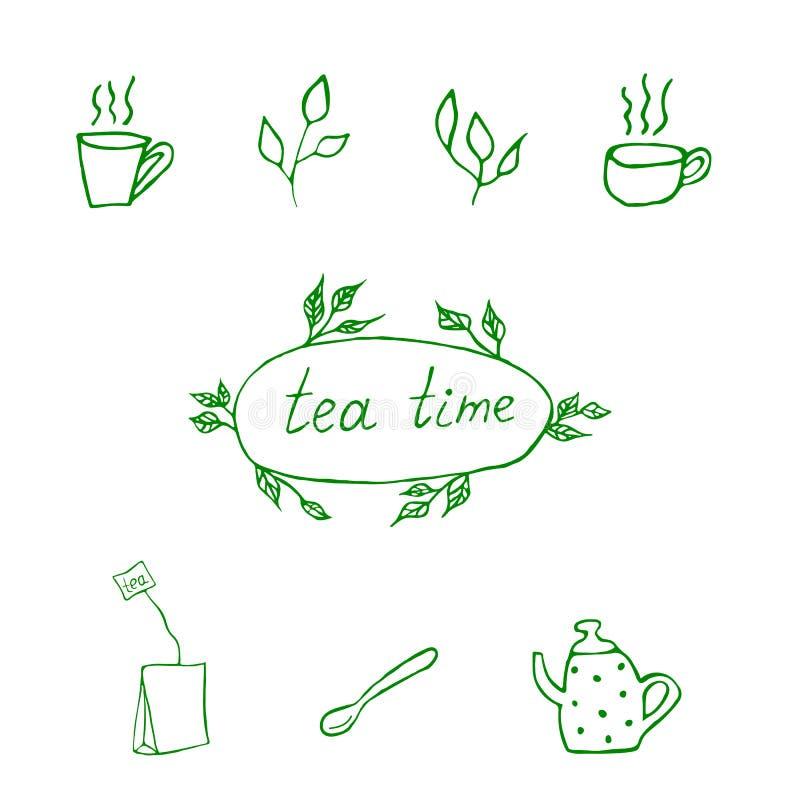 Griffonnage de temps de thé photographie stock libre de droits