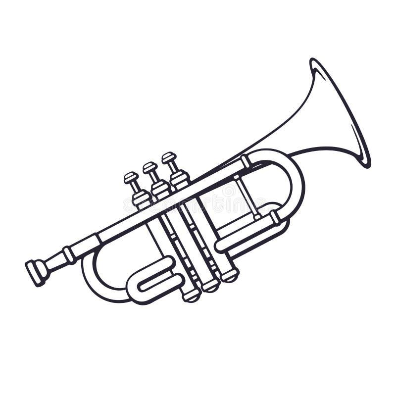 Griffonnage de trompette d'instrument de vent de musique classique illustration de vecteur