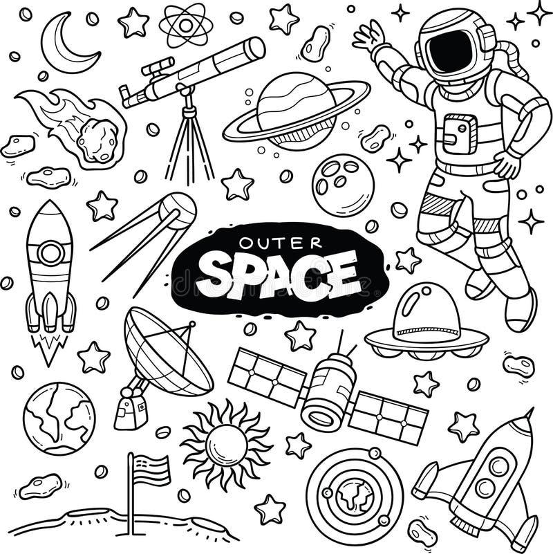 Griffonnage de vecteur d'espace extra-atmosphérique illustration libre de droits