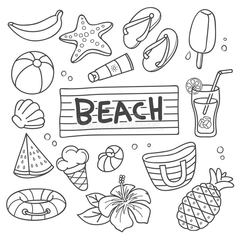 Griffonnage de vecteur de vacances d'été illustration libre de droits