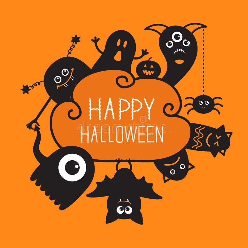 Griffonnage heureux de countour de Halloween Ghost, batte illustration de vecteur