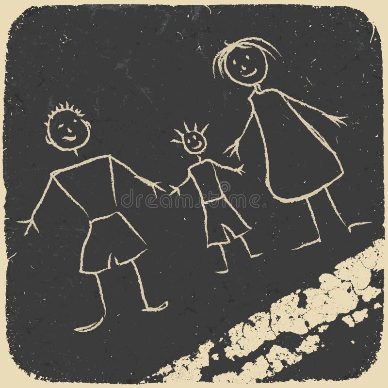 Griffonnage heureux de famille. Illustration sur l'asphalte. illustration libre de droits