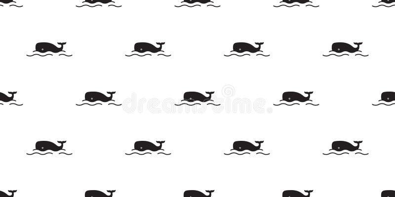 Griffonnage i de fond de tuile de papier peint de répétition de bande dessinée de mer d'océan d'isolement par écharpe saumonée sa illustration de vecteur