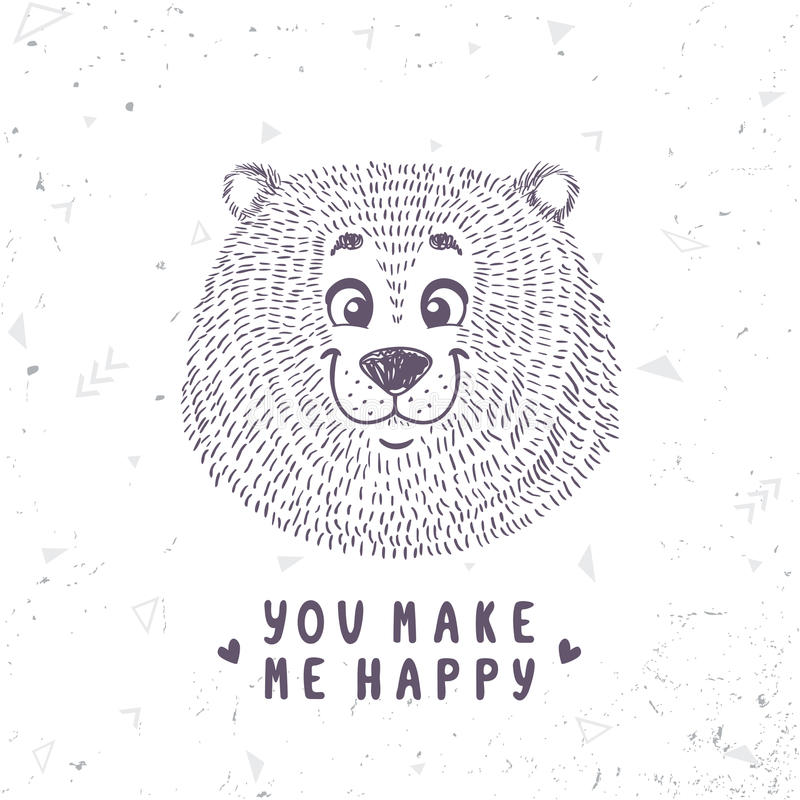 Griffonnage mignon d'ours illustration libre de droits