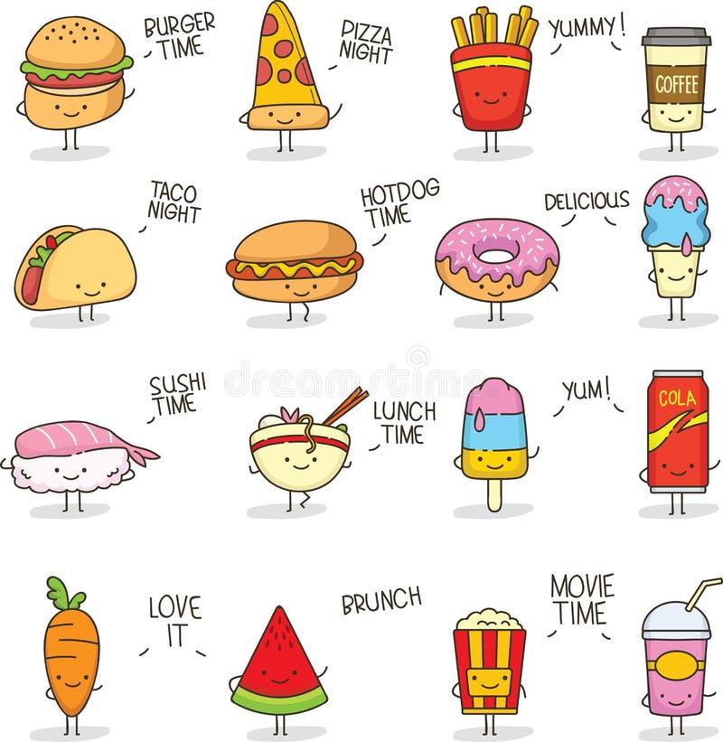 Griffonnage mignon Kawaii de nourriture illustration stock