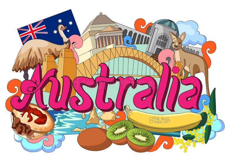 Griffonnage montrant l'architecture et la culture de l'Australie illustration de vecteur