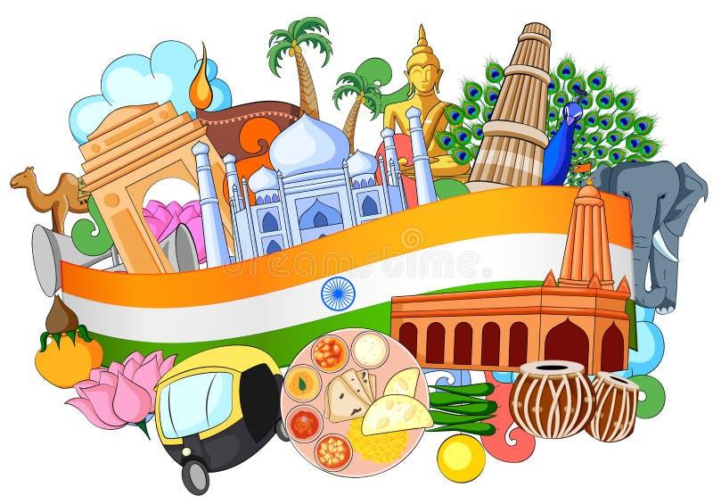 Griffonnage montrant l'architecture et la culture de l'Inde illustration de vecteur