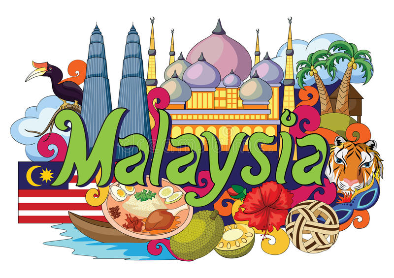 Griffonnage montrant l'architecture et la culture de la Malaisie illustration de vecteur