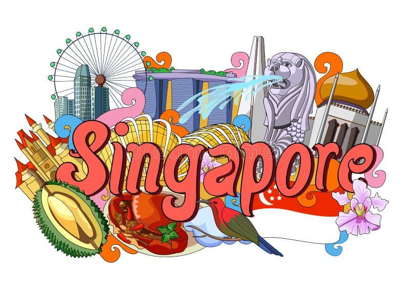 Griffonnage montrant l'architecture et la culture de Singapour illustration libre de droits