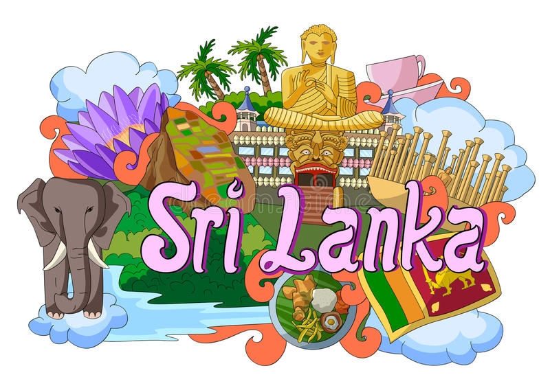 Griffonnage montrant l'architecture et la culture de Sri Lanka illustration stock