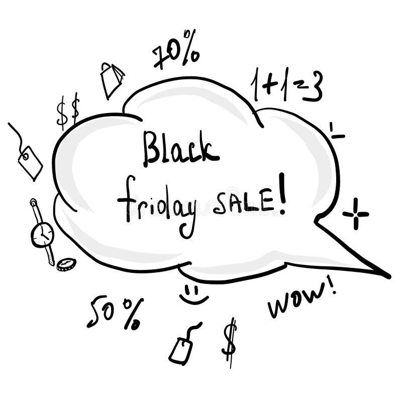 Griffonnage noir d'aube de main de vendredi illustration de vecteur