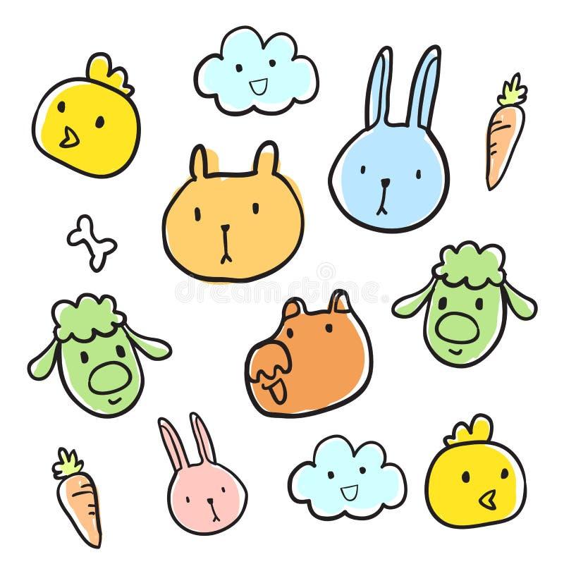 Griffonnage principal animal illustration stock