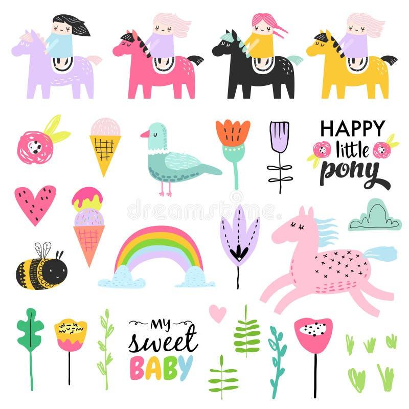 Griffonnage puéril avec les filles, les poneys et les oiseaux mignons Ensemble d'éléments tiré par la main de fille pour l'annive illustration stock