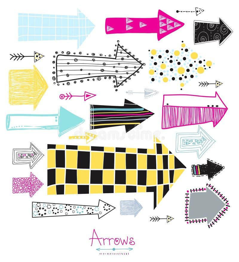 Griffonnage réglé - flèches Fond graphique créatif Collection de flèche de croquis pour votre conception Tiré par la main avec l' illustration stock
