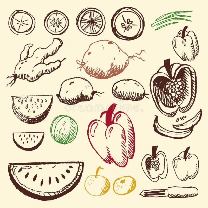 Griffonnage réglé - fruits et légumes images stock