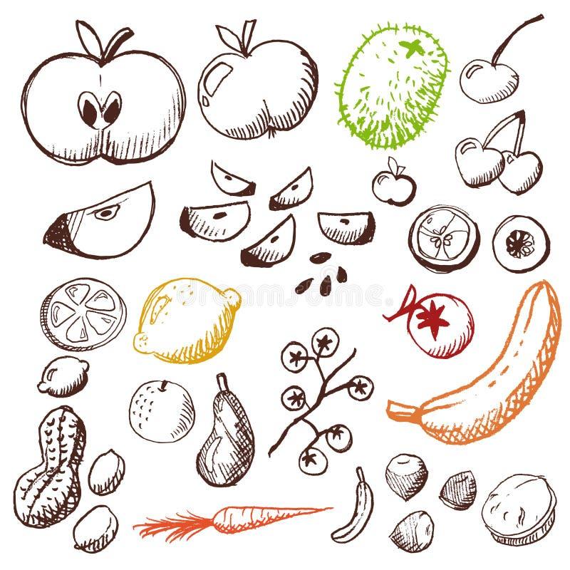 Griffonnage réglé - fruits et légumes photo libre de droits