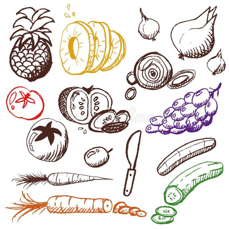 Griffonnage réglé - fruits et légumes image stock