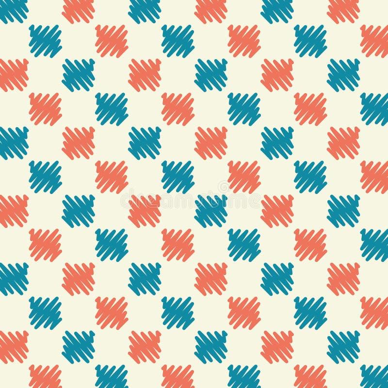 Griffonnage sans couture de rouge bleu de grille de modèle d'abrégé sur courant vecteur photo libre de droits