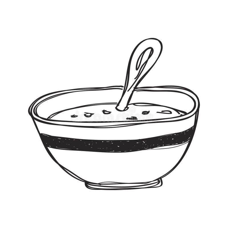 Griffonnage simple d'un bol de soupe illustration de vecteur