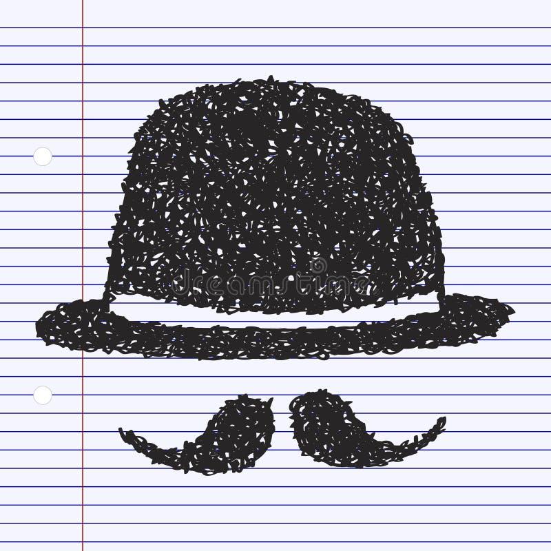 Griffonnage simple d'un chapeau de lanceur et d'une moustache illustration de vecteur