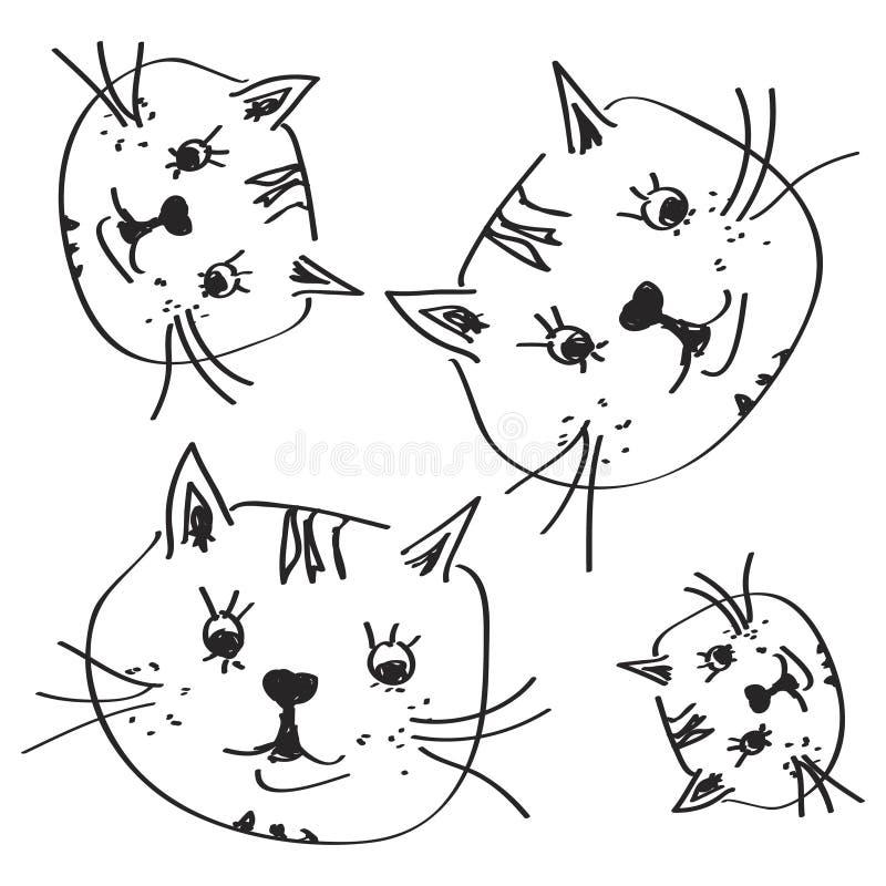 Griffonnage simple d'un chat illustration stock