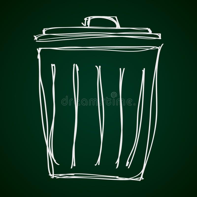 Griffonnage simple d'une poubelle de déchets illustration de vecteur