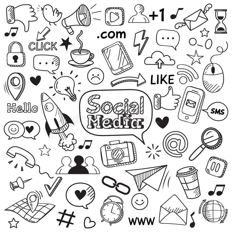 Griffonnage social de médias Griffonnages de site Web d'Internet, communication sociale de réseau et ensemble tiré par la main d' illustration stock