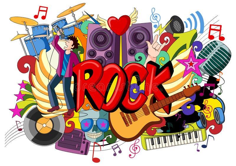 Griffonnage sur le concept de musique rock illustration stock