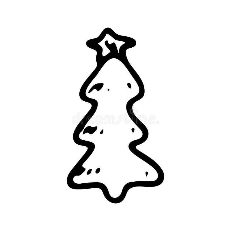Griffonnage tiré par la main d'arbre de Noël Icône d'hiver de croquis Élément de décoration D'isolement sur le fond blanc Illustr illustration de vecteur