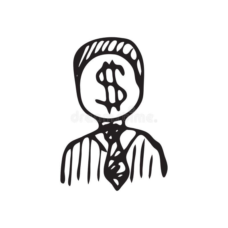 Griffonnage tiré par la main d'argent d'hommes Icône du dollar de croquis Elem de décoration illustration de vecteur