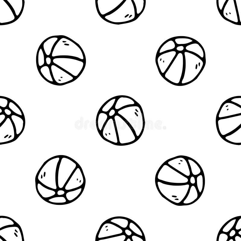 Griffonnage tiré par la main de basket-ball de modèle sans couture Ic?ne de jouet pour enfants de croquis ?l?ment de d?coration D illustration de vecteur