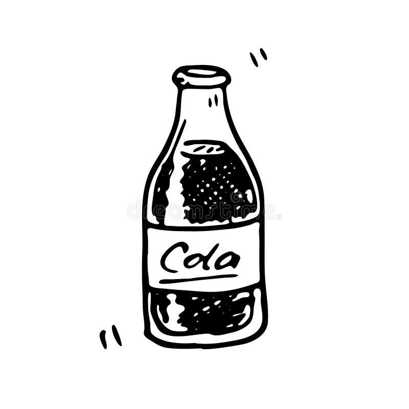 Griffonnage tiré par la main de bouteille de kola Nourriture de croquis et boisson, icône deco illustration de vecteur