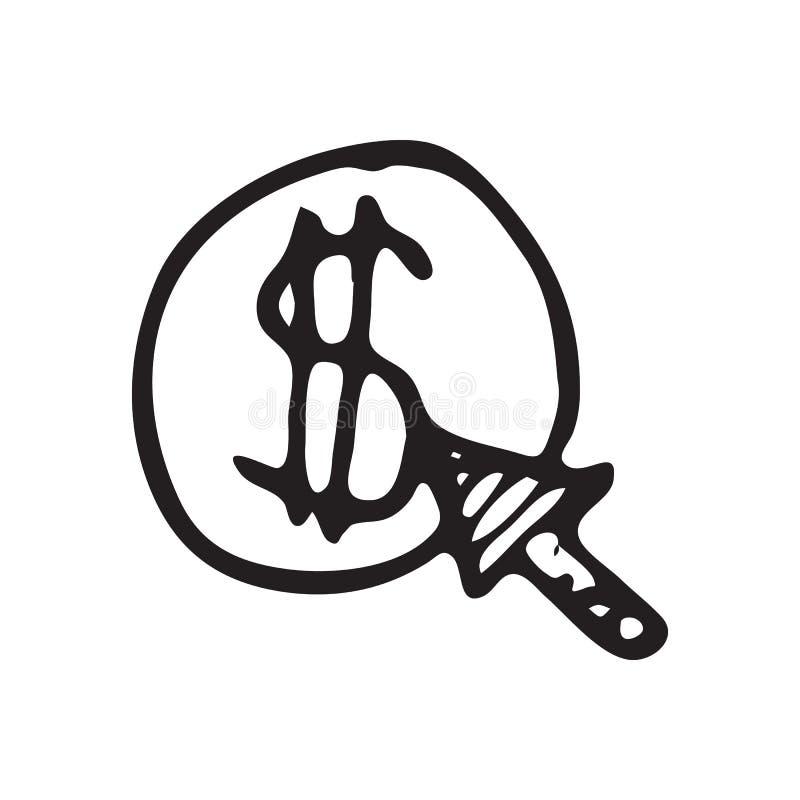 Griffonnage tiré par la main de clic de flèche de pièce de monnaie Icône du dollar de croquis E illustration libre de droits