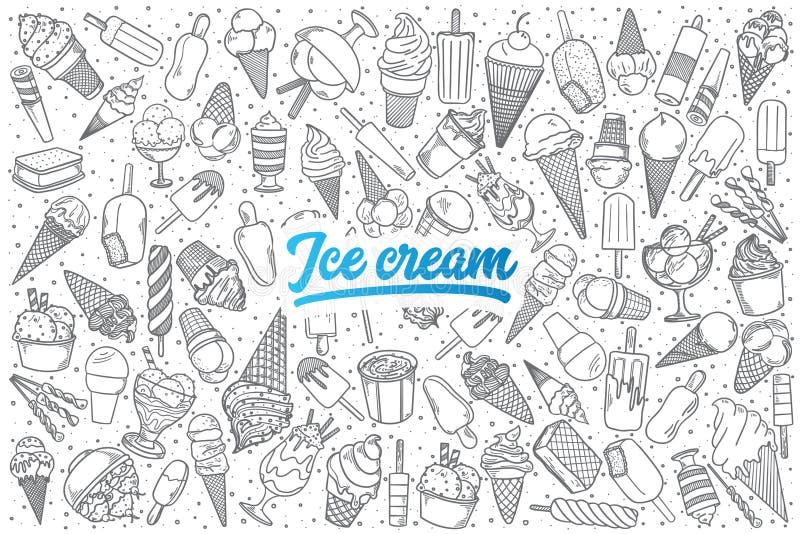 Griffonnage tiré par la main de crème glacée réglé avec le lettrage illustration libre de droits