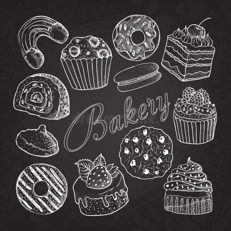 Griffonnage tiré par la main de desserts de bonbons à boulangerie sur le tableau illustration stock