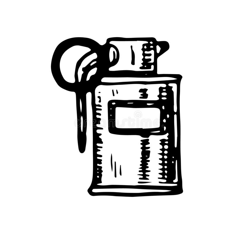 Griffonnage tiré par la main de grenade Icône de style de croquis Élément militaire de décoration D'isolement sur le fond blanc C illustration stock