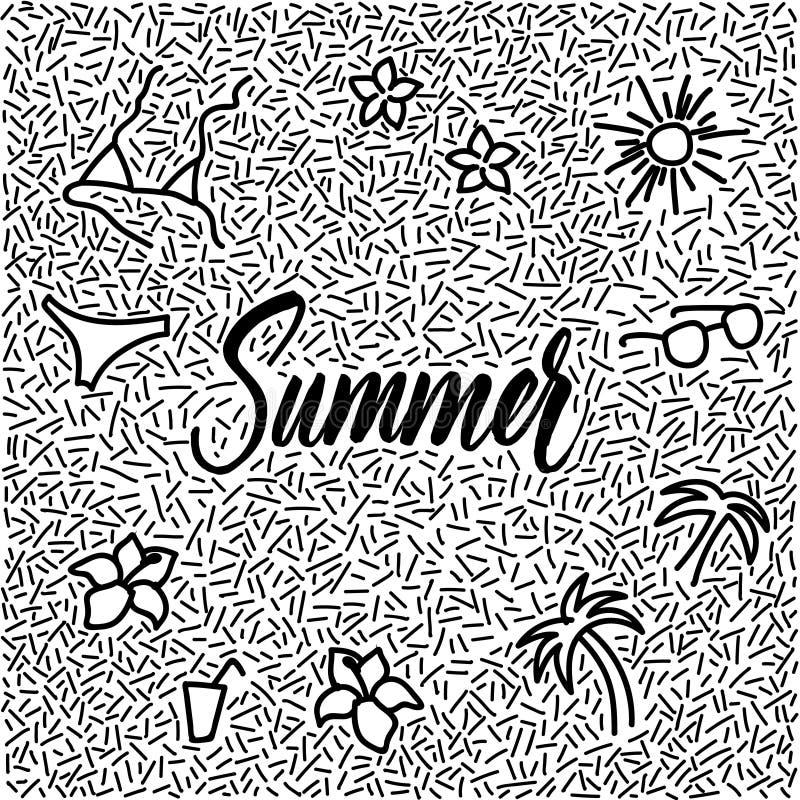 griffonnage tiré par la main de Ligne-art avec l'été moderne de mot de calligraphie ! image stock