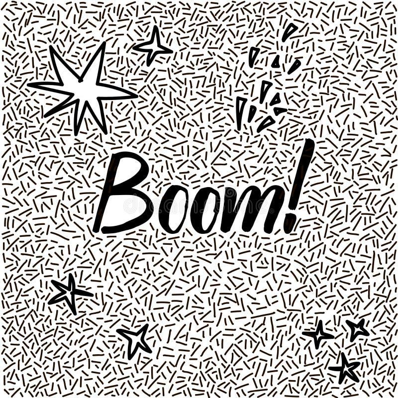 griffonnage tiré par la main de Ligne-art avec le boom moderne de mot de calligraphie ! image stock