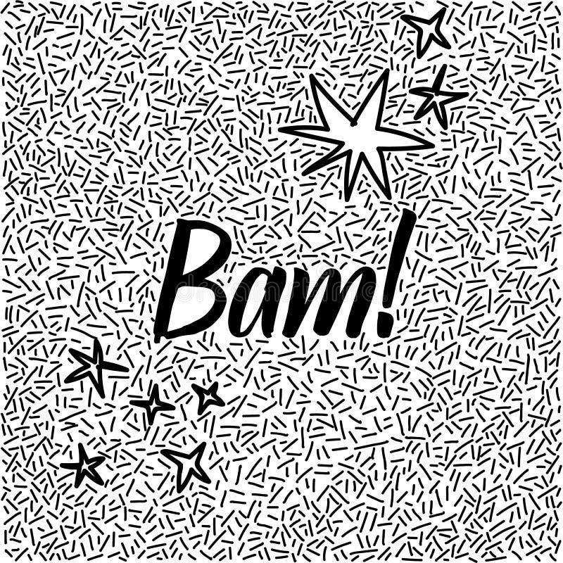 griffonnage tiré par la main de Ligne-art avec le mot moderne bam de calligraphie ! illustration libre de droits