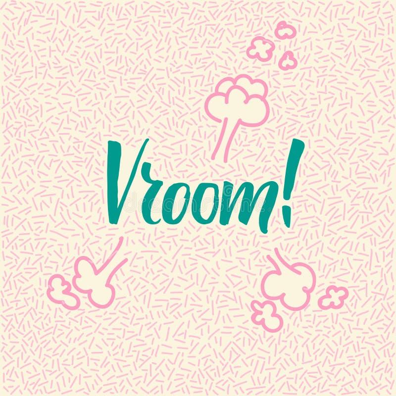 griffonnage tiré par la main de Ligne-art avec le mot moderne de calligraphie Vroom ! illustration de vecteur