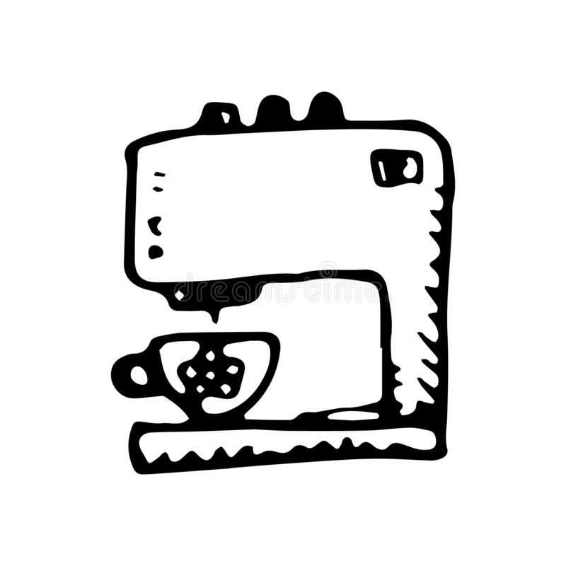 Griffonnage tiré par la main de machine de café Icône de style de croquis Élément de décoration D'isolement sur le fond blanc Con illustration de vecteur