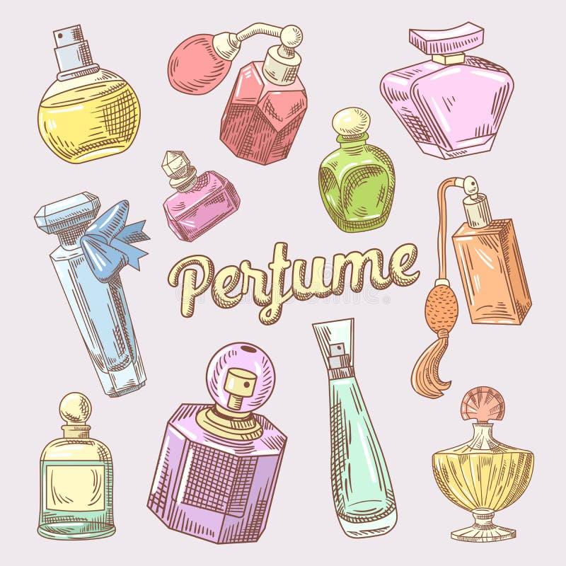 Griffonnage tiré par la main de parfum et de cosmétiques avec différentes bouteilles illustration de vecteur