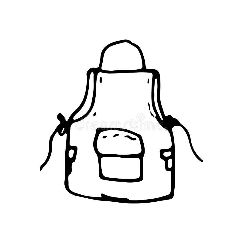 Griffonnage tiré par la main de tablier Icône de style de croquis Élément de décoration D'isolement sur le fond blanc Conception  illustration stock