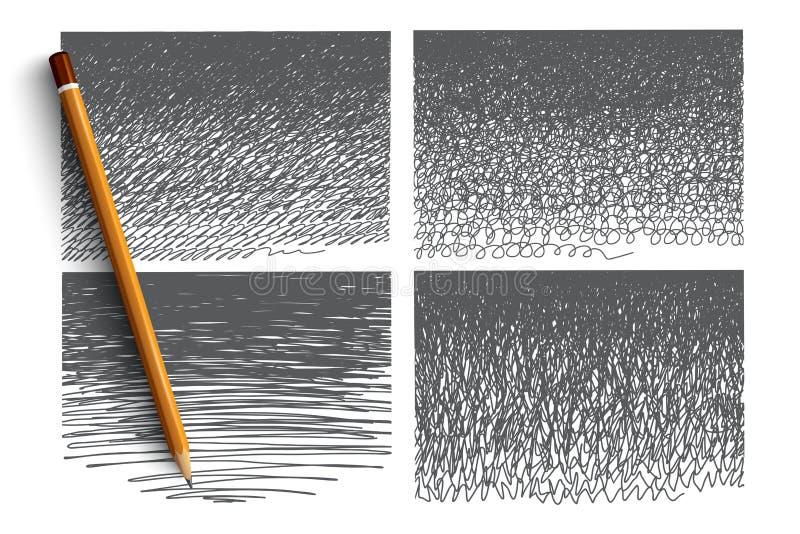 Griffonnage tiré par la main réglé avec le lettrage vert illustration libre de droits