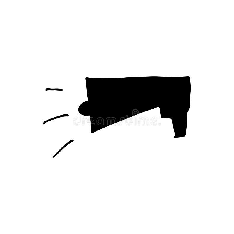Griffonnage tir? par la main de haut-parleur Ic?ne de style de croquis ?l?ment de d?coration D'isolement sur le fond blanc Concep illustration libre de droits