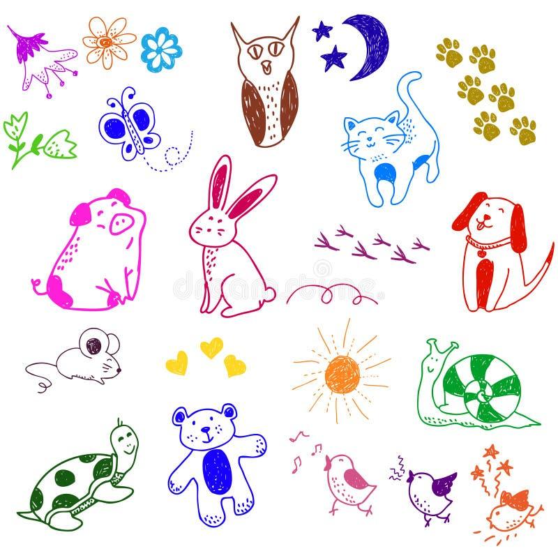 Griffonnages Animaux Photos libres de droits