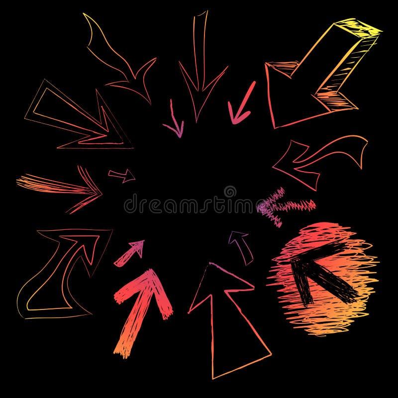 Griffonnages colorés de flèche illustration de vecteur