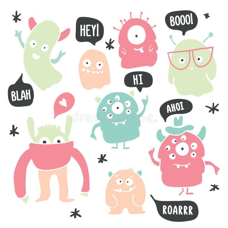 Griffonnages colorés mignons de monstres et de fantômes illustration stock