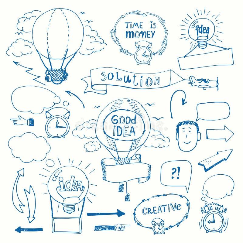 Griffonnages créatifs pensant le concept illustration stock