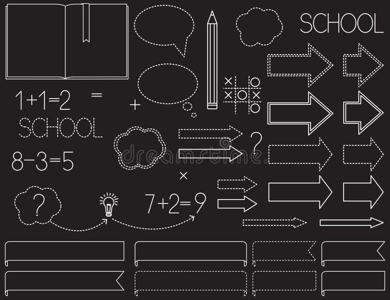 Griffonnages d'école d'isolement sur le fond noir illustration de vecteur
